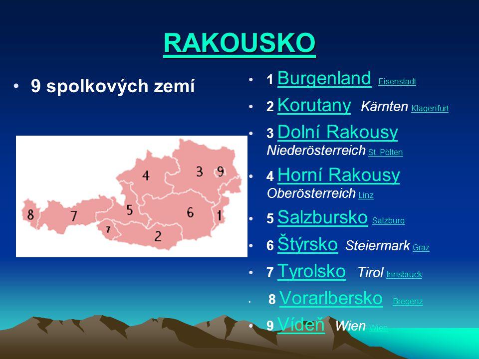 RAKOUSKO 9 spolkových zemí 1 Burgenland Eisenstadt Burgenland Eisenstadt 2 Korutany Kärnten Klagenfurt Korutany Klagenfurt 3 Dolní Rakousy Niederöster