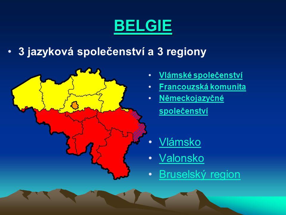 BELGIE 3 jazyková společenství a 3 regiony Vlámské společenství Francouzská komunita Německojazyčné společenstvíNěmeckojazyčné společenství Vlámsko Va