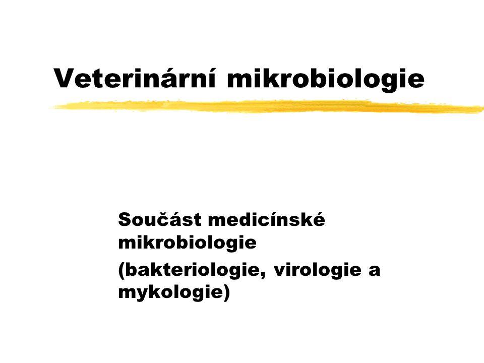 Veterinární mikrobiologie Součást medicínské mikrobiologie (bakteriologie, virologie a mykologie)