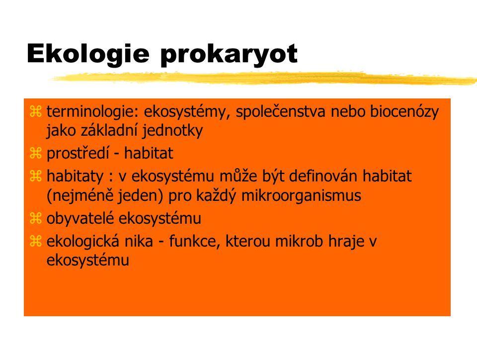 Ekologie prokaryot zterminologie: ekosystémy, společenstva nebo biocenózy jako základní jednotky zprostředí - habitat zhabitaty : v ekosystému může bý
