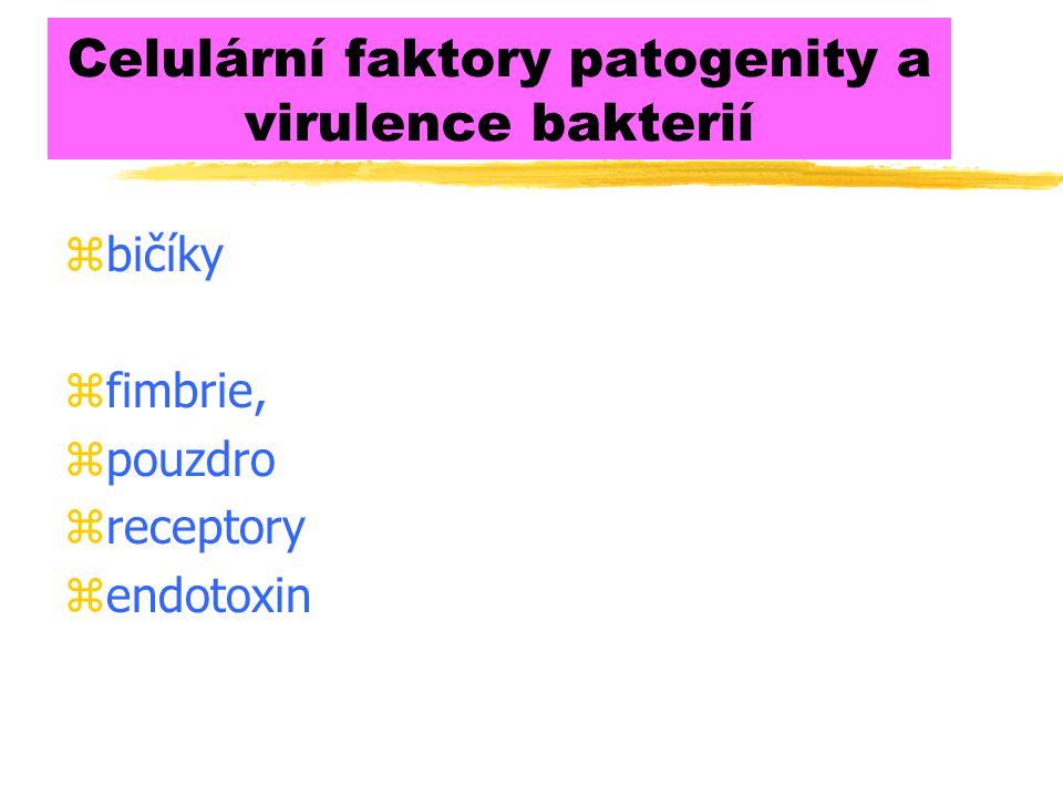 Celulární faktory patogenity a virulence bakterií zbičíky zfimbrie, zpouzdro zreceptory zendotoxin