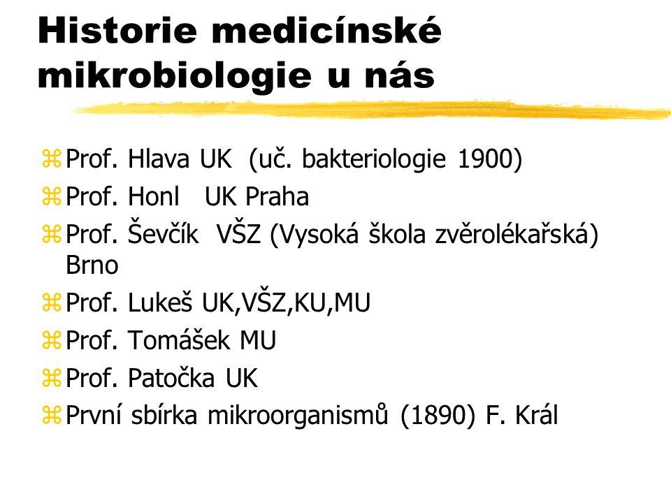 Historie medicínské mikrobiologie u nás zProf. Hlava UK (uč. bakteriologie 1900) zProf. Honl UK Praha zProf. Ševčík VŠZ (Vysoká škola zvěrolékařská) B