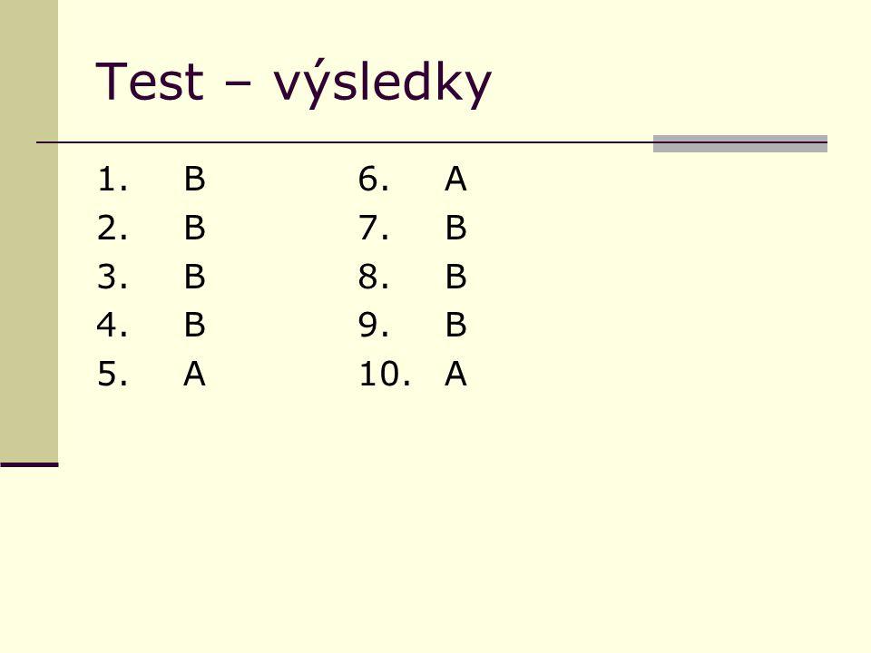 Test – výsledky 1.B6.A 2. B7.B 3. B8.B 4. B9.B 5.A10.A