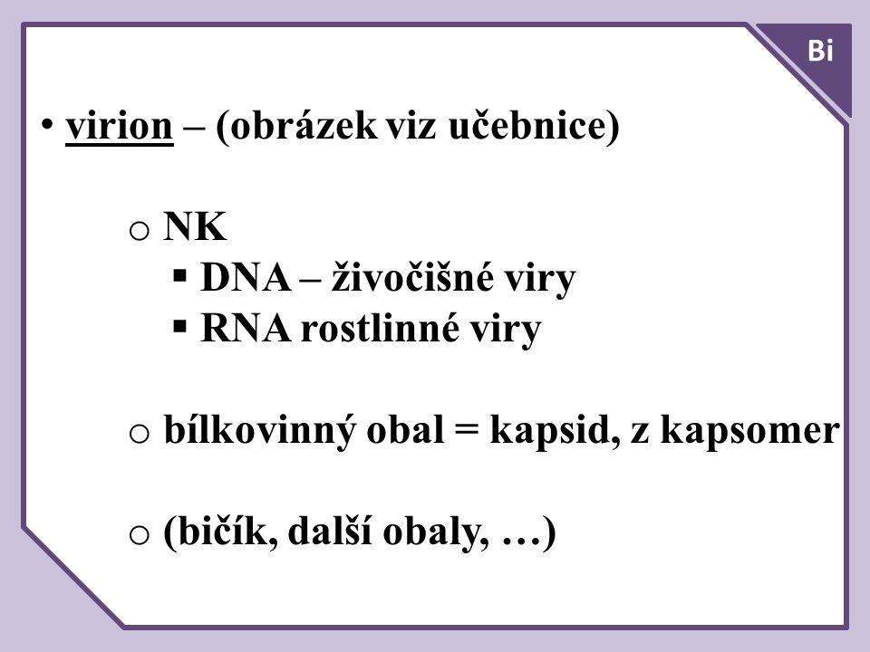 virion – (obrázek viz učebnice) o NK  DNA – živočišné viry  RNA rostlinné viry o bílkovinný obal = kapsid, z kapsomer o (bičík, další obaly, …)