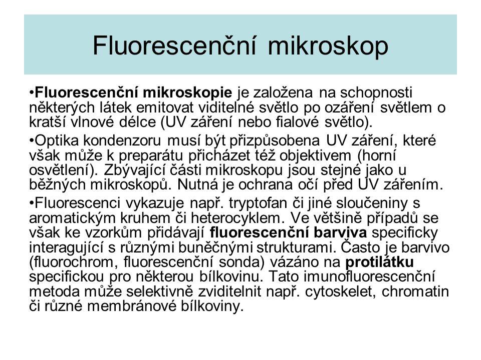 Fluorescenční mikroskop Fluorescenční mikroskopie je založena na schopnosti některých látek emitovat viditelné světlo po ozáření světlem o kratší vlnové délce (UV záření nebo fialové světlo).