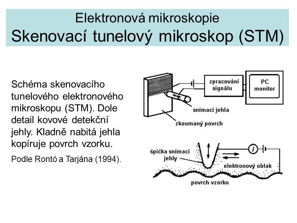 Elektronová mikroskopie Skenovací tunelový mikroskop (STM) Schéma skenovacího tunelového elektronového mikroskopu (STM).