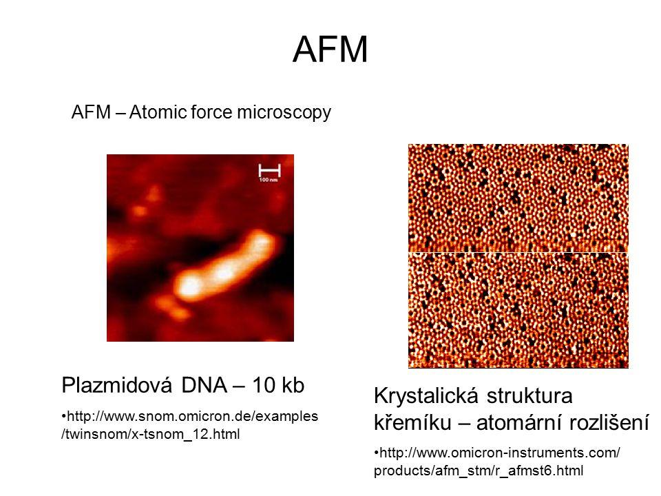 AFM AFM – Atomic force microscopy Plazmidová DNA – 10 kb http://www.snom.omicron.de/examples /twinsnom/x-tsnom_12.html Krystalická struktura křemíku – atomární rozlišení http://www.omicron-instruments.com/ products/afm_stm/r_afmst6.html