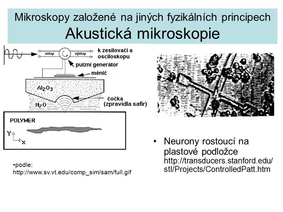 Mikroskopy založené na jiných fyzikálních principech Akustická mikroskopie Neurony rostoucí na plastové podložce http://transducers.stanford.edu/ stl/Projects/ControlledPatt.htm podle: http://www.sv.vt.edu/comp_sim/sam/full.gif