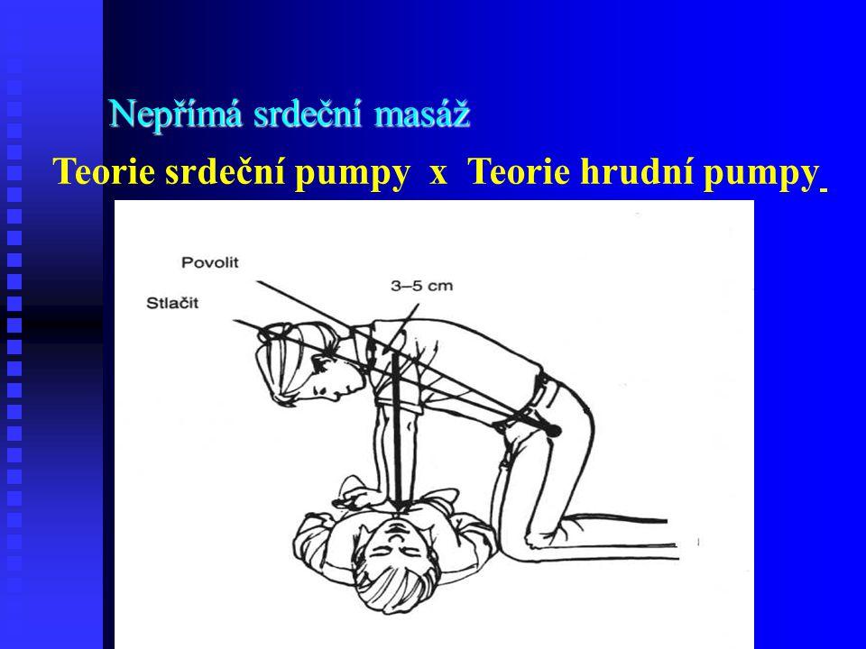 Teorie srdeční pumpy x Teorie hrudní pumpy Nepřímá srdeční masáž