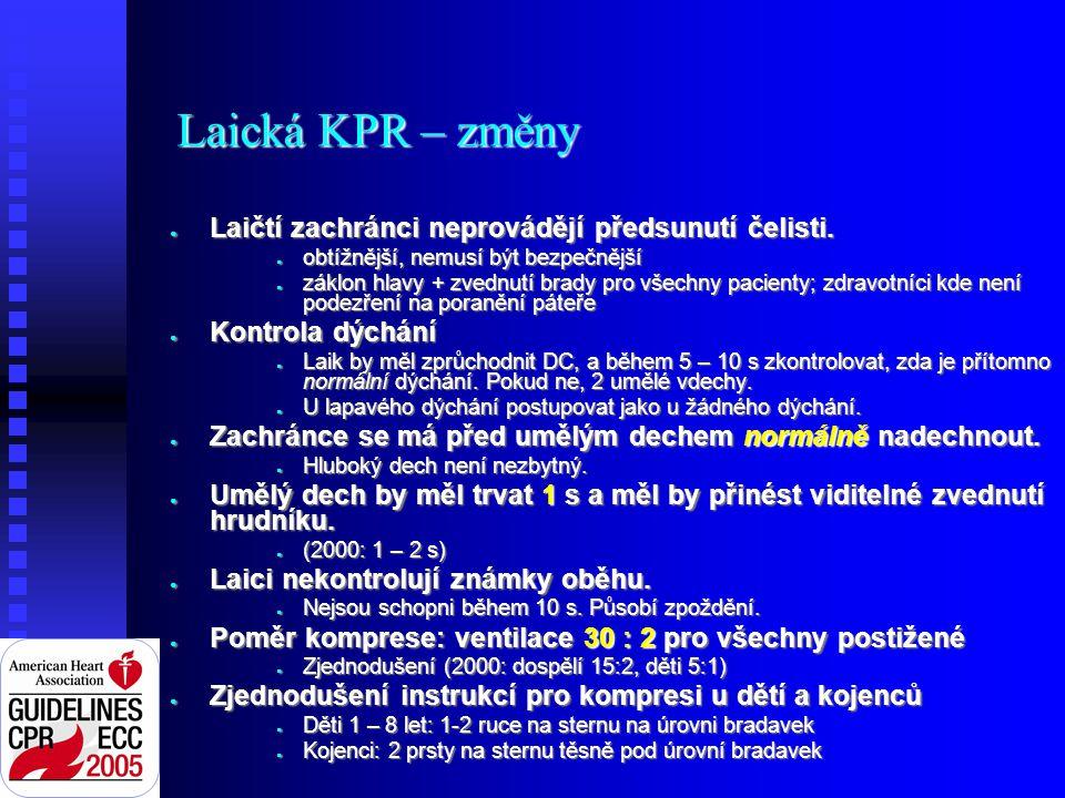 Laická KPR – změny ● Laičtí zachránci neprovádějí předsunutí čelisti.