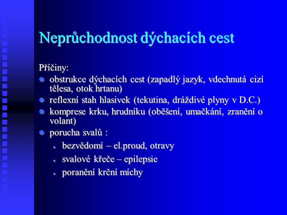 Neprůchodnost dýchacích cest Příčiny: obstrukce dýchacích cest (zapadlý jazyk, vdechnutá cizí tělesa, otok hrtanu) obstrukce dýchacích cest (zapadlý jazyk, vdechnutá cizí tělesa, otok hrtanu) reflexní stah hlasivek (tekutina, dráždivé plyny v D.C.) reflexní stah hlasivek (tekutina, dráždivé plyny v D.C.) komprese krku, hrudníku (oběšení, umačkání, zranění o volant) komprese krku, hrudníku (oběšení, umačkání, zranění o volant) porucha svalů : porucha svalů : ● bezvědomí – el.proud, otravy ● svalové křeče – epilepsie ● poranění krční míchy