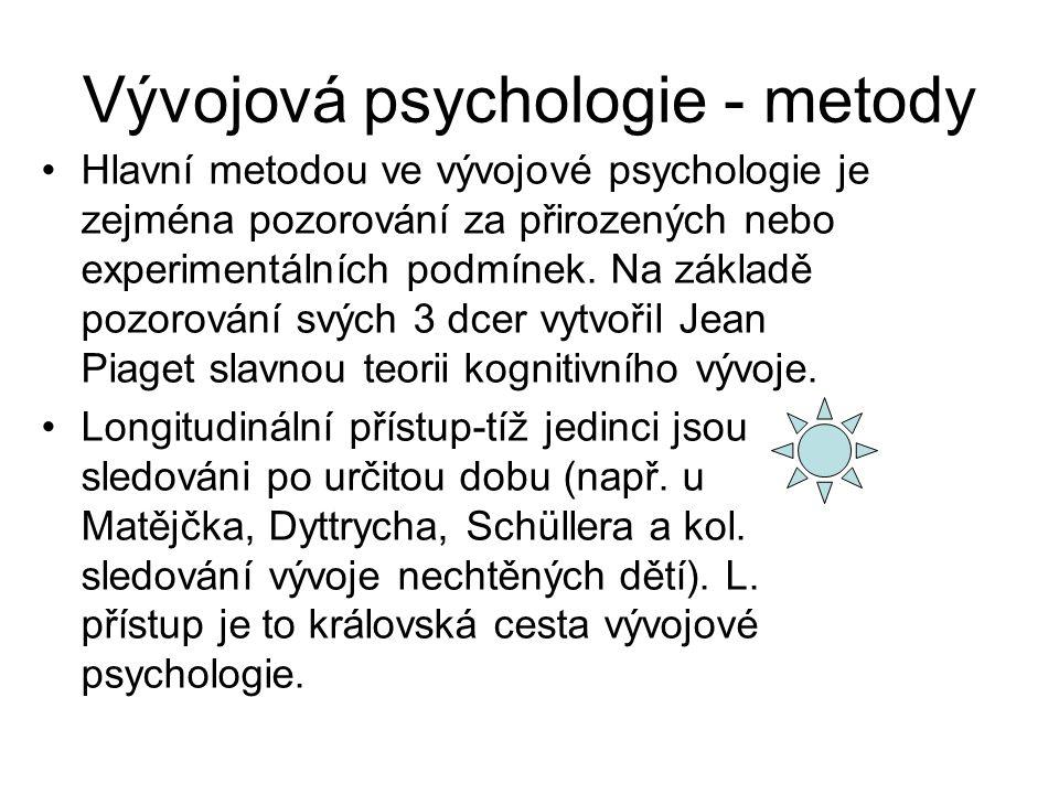 Vývojová psychologie - metody Hlavní metodou ve vývojové psychologie je zejména pozorování za přirozených nebo experimentálních podmínek.