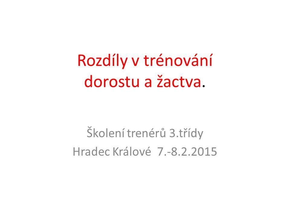 Rozdíly v trénování dorostu a žactva. Školení trenérů 3.třídy Hradec Králové 7.-8.2.2015