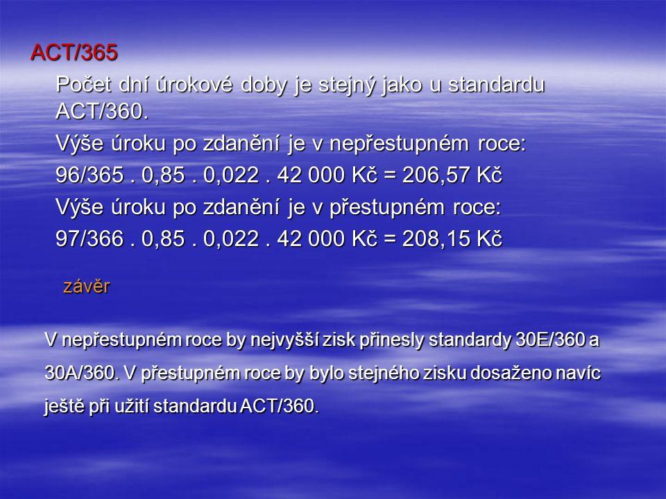 ACT/365 Počet dní úrokové doby je stejný jako u standardu ACT/360.