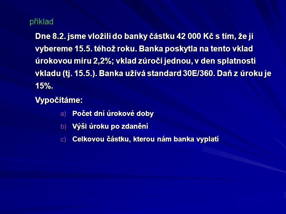 Dne 8.2. jsme vložili do banky částku 42 000 Kč s tím, že ji vybereme 15.5. téhož roku. Banka poskytla na tento vklad úrokovou míru 2,2%; vklad zúročí