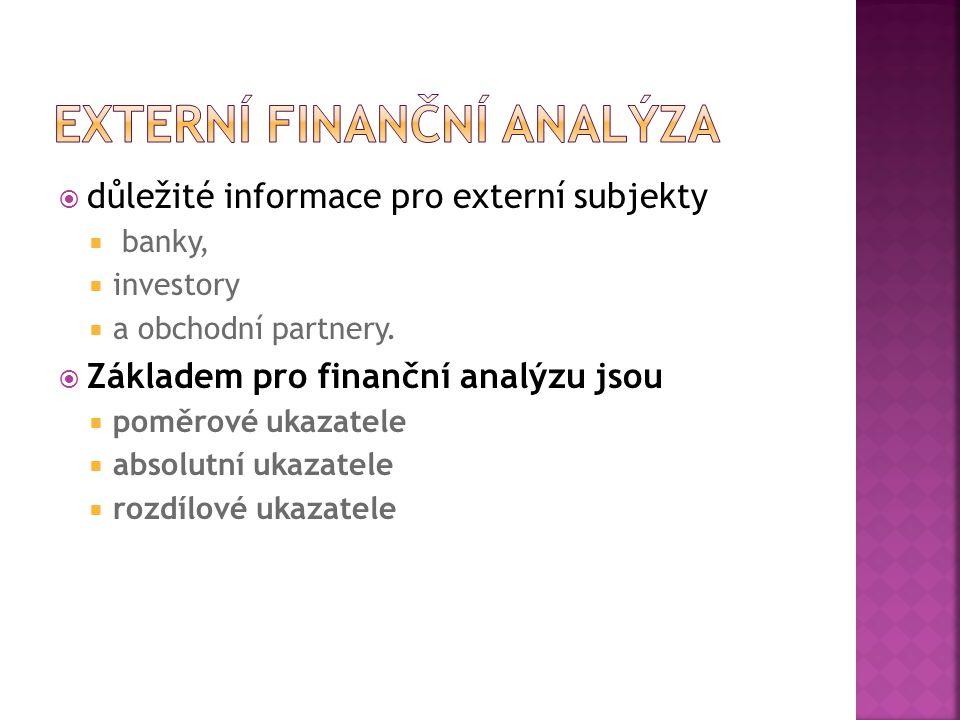  důležité informace pro externí subjekty  banky,  investory  a obchodní partnery.  Základem pro finanční analýzu jsou  poměrové ukazatele  abso
