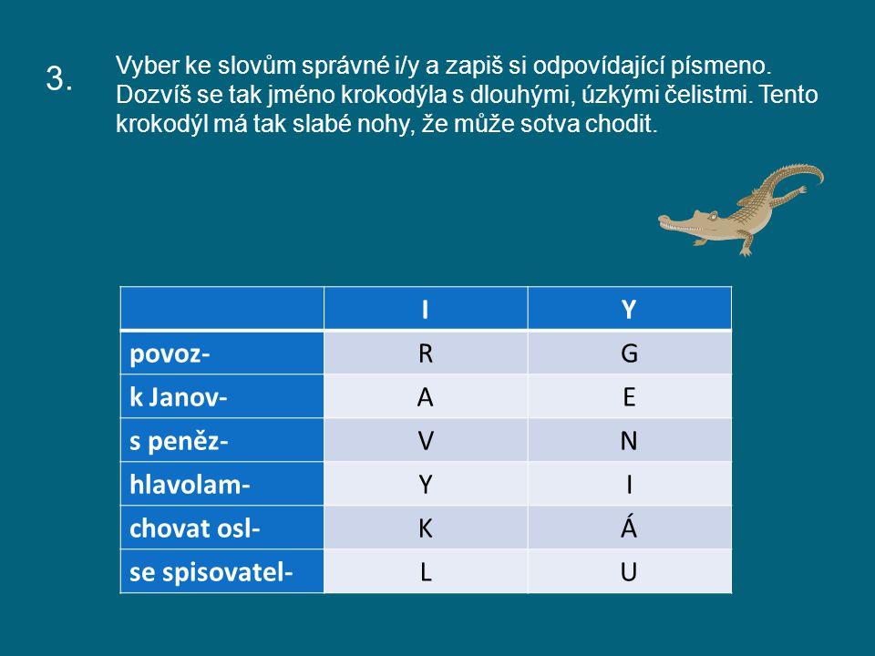 Vyber ke slovům správné i/y a zapiš si odpovídající písmeno.
