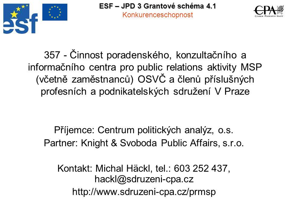 2 1 Zaměření projektu Krátký popis záměru projektu Záměrem projektu je poskytnout MSP včetně jejich zaměstnanců a OSVČ možnost získat základní znalosti a dovednosti v oblasti komunikace s médii a tím posílit jejich konkurenceschopnost na jednotném trhu EU.