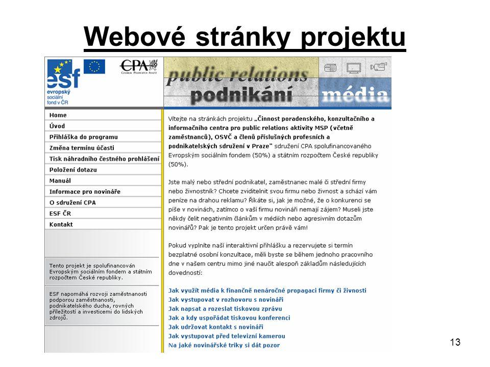 13 Webové stránky projektu