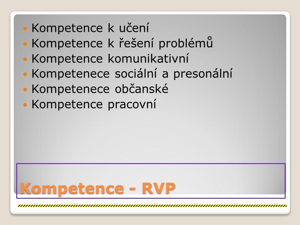 Kompetence - RVP Kompetence k učení Kompetence k řešení problémů Kompetence komunikativní Kompetenece sociální a presonální Kompetenece občanské Kompetence pracovní