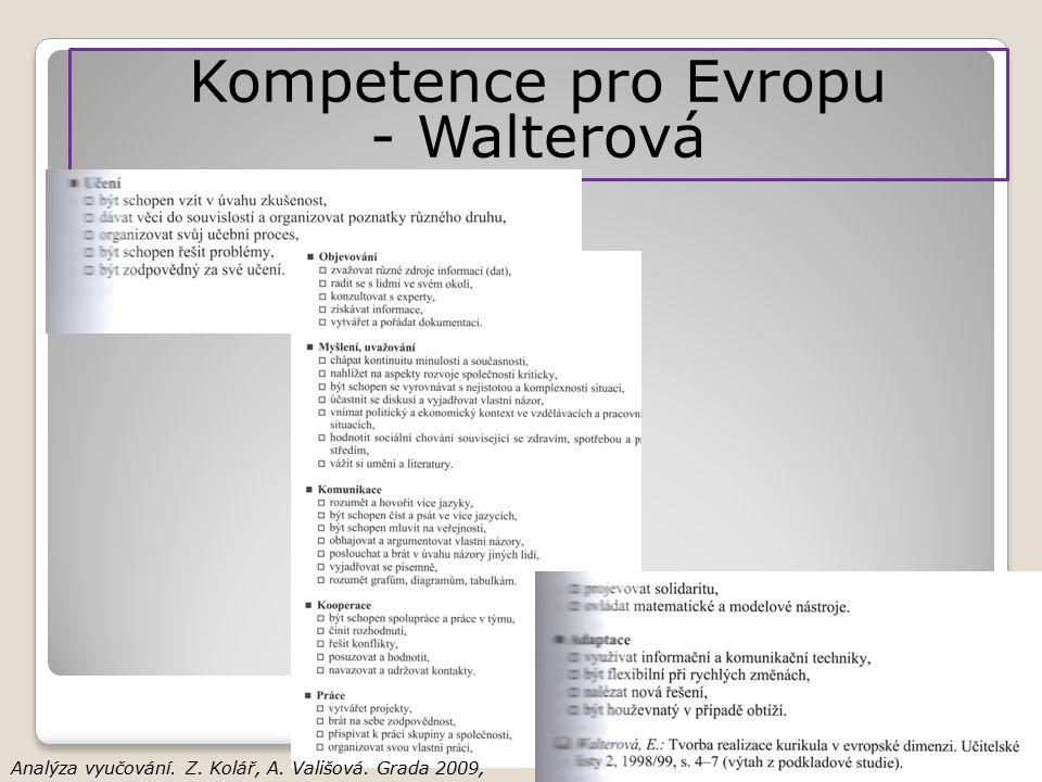 Kompetence pro Evropu - Walterová Analýza vyučování. Z. Kolář, A. Vališová. Grada 2009, str. 33-35