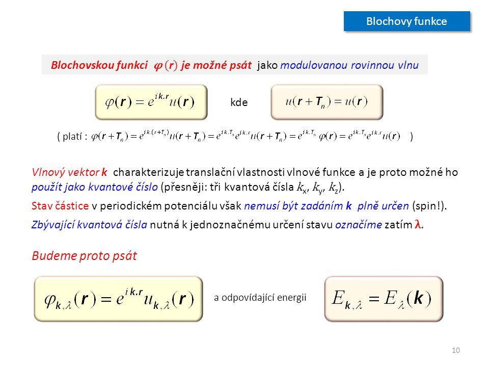 Blochovskou funkci φ ( r ) je možné psát jako modulovanou rovinnou vlnu ( platí : ) kde Vlnový vektor k charakterizuje translační vlastnosti vlnové fu