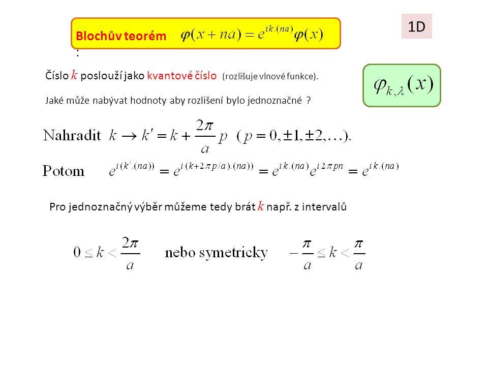 1D Blochův teorém : Pro jednoznačný výběr můžeme tedy brát k např. z intervalů Číslo k poslouží jako kvantové číslo (rozlišuje vlnové funkce). Jaké mů