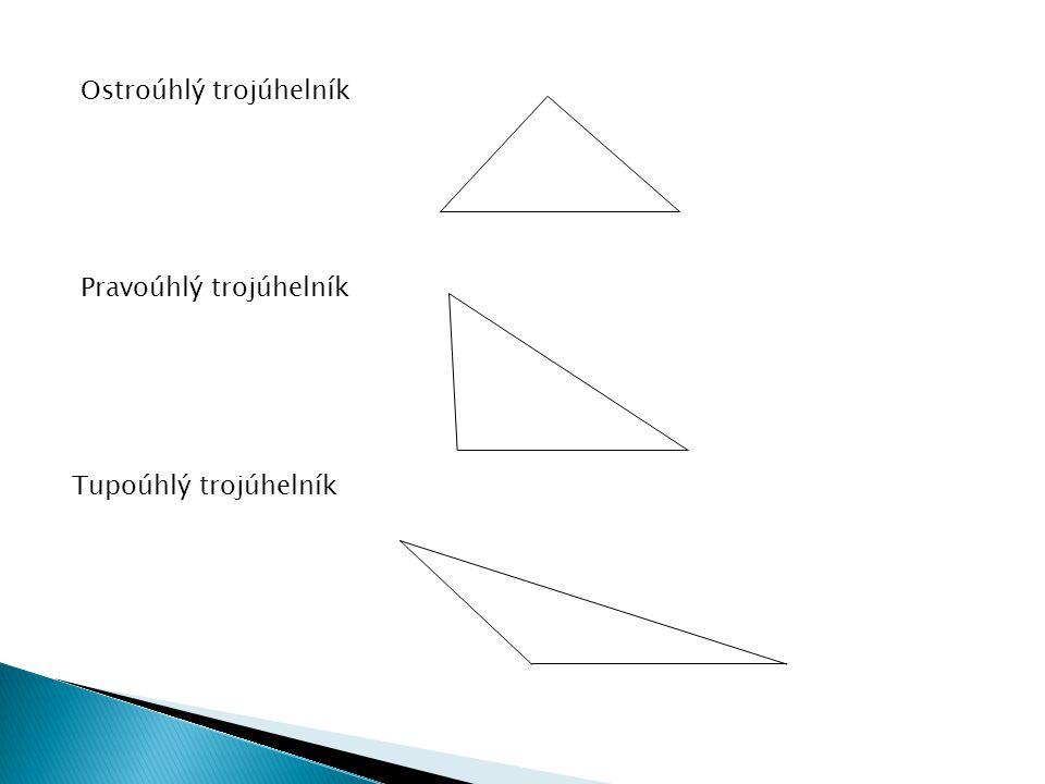 Ostroúhlý trojúhelník Pravoúhlý trojúhelník Tupoúhlý trojúhelník