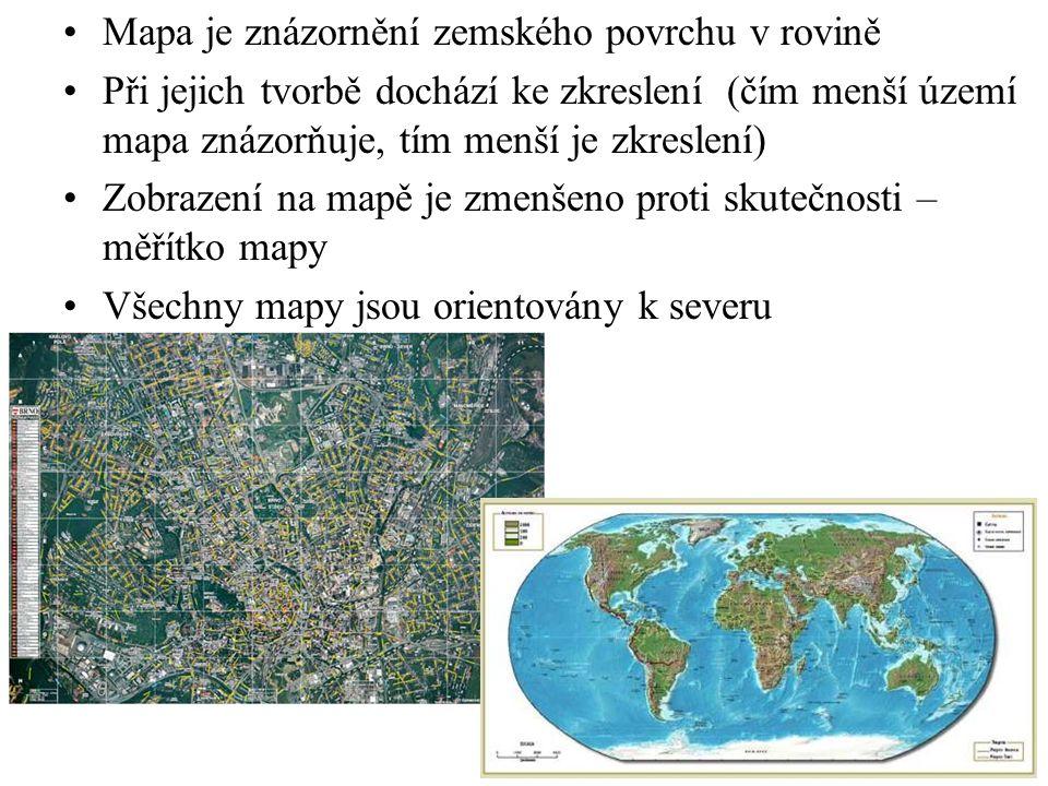 OBSAH MAPY Na mapách znázorňujeme terén (povrch) se vším, co kolem sebe vidíme: 1)VÝŠKOPIS 2)POLOHOPIS 3)POPIS