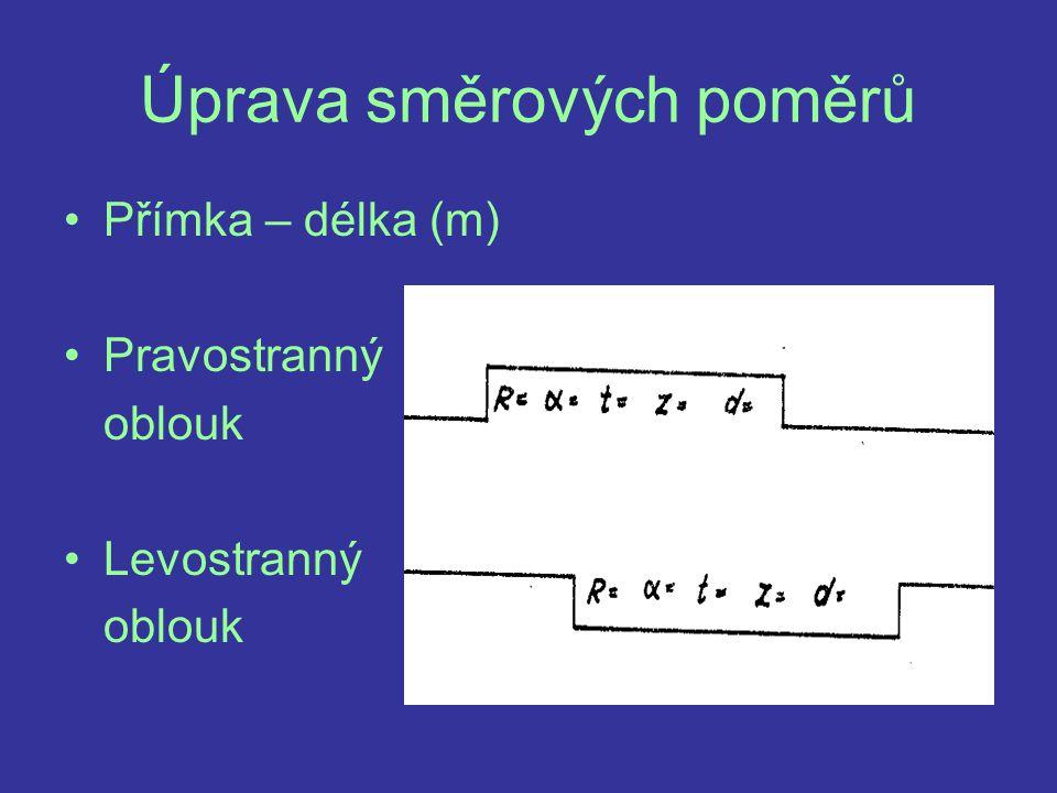 Úprava směrových poměrů Přímka – délka (m) Pravostranný oblouk Levostranný oblouk
