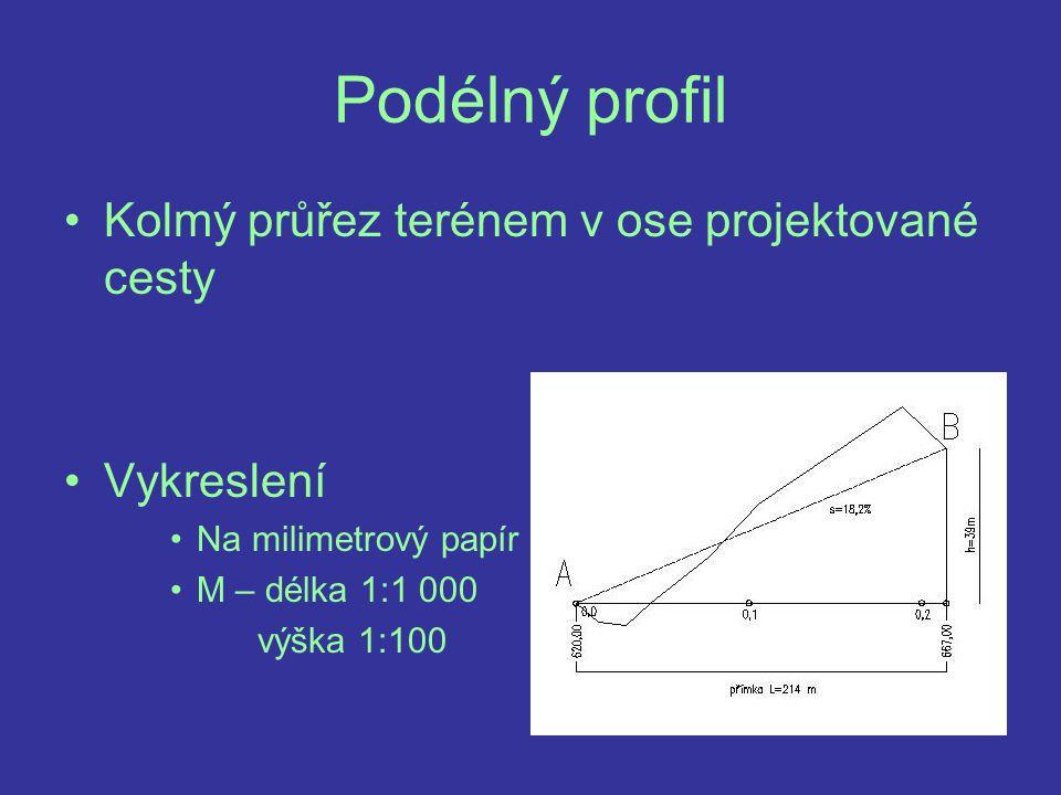 Postup - pokračování 5) Podle nadmořské výšky trasy cesty zvolíme vhodně výšku srovnávací roviny 6) Ze zápisníku staničení vypíšeme nadmořské výšky podrobných bodů 7) Podle měřítka výšek vykreslíme výškovou polohu bodů vzhledem k poznávací rovině 8) Upravíme podobu hlavičky podélného profilu (dle předlohy)