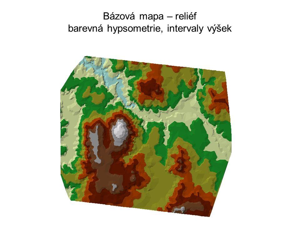 Bázová mapa – reliéf barevná hypsometrie, intervaly výšek