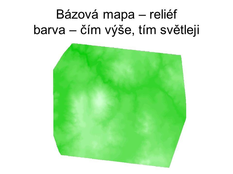 Bázová mapa – reliéf barva – čím výše, tím světleji