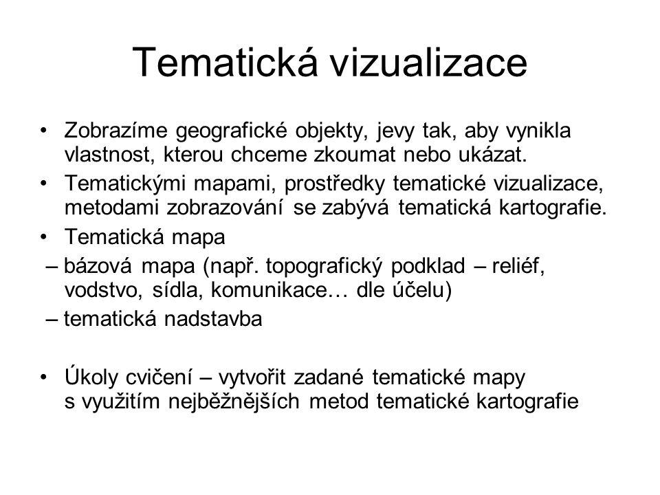 Tematická vizualizace Zobrazíme geografické objekty, jevy tak, aby vynikla vlastnost, kterou chceme zkoumat nebo ukázat.