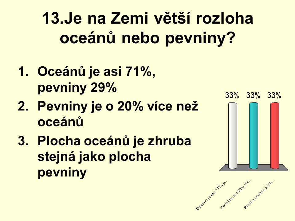 13.Je na Zemi větší rozloha oceánů nebo pevniny? 1.Oceánů je asi 71%, pevniny 29% 2.Pevniny je o 20% více než oceánů 3.Plocha oceánů je zhruba stejná