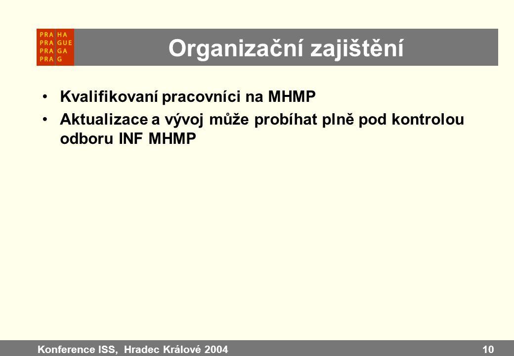 Konference ISS, Hradec Králové 200410 Organizační zajištění Kvalifikovaní pracovníci na MHMP Aktualizace a vývoj může probíhat plně pod kontrolou odbo