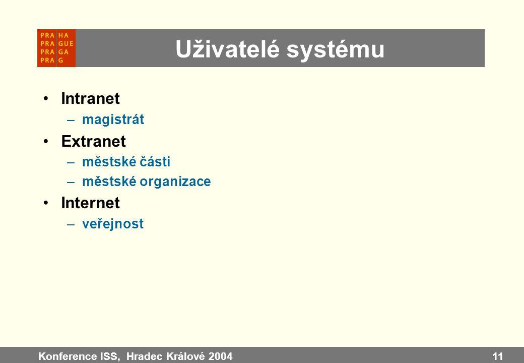 Konference ISS, Hradec Králové 200411 Uživatelé systému Intranet –magistrát Extranet –městské části –městské organizace Internet –veřejnost