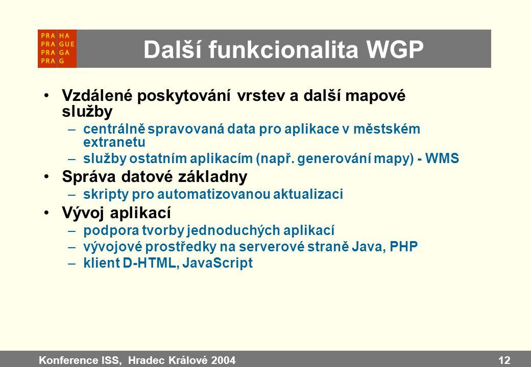 Konference ISS, Hradec Králové 200412 Další funkcionalita WGP Vzdálené poskytování vrstev a další mapové služby –centrálně spravovaná data pro aplikac