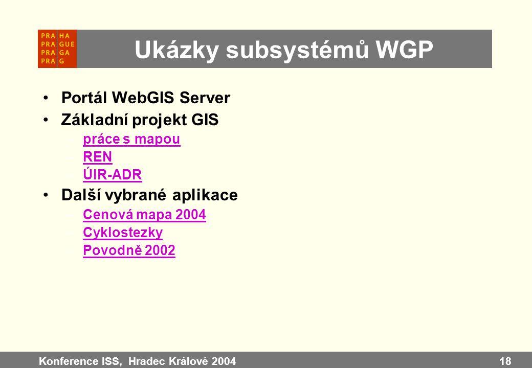 Konference ISS, Hradec Králové 200418 Ukázky subsystémů WGP Portál WebGIS Server Základní projekt GIS –práce s mapoupráce s mapou –RENREN –ÚIR-ADRÚIR-