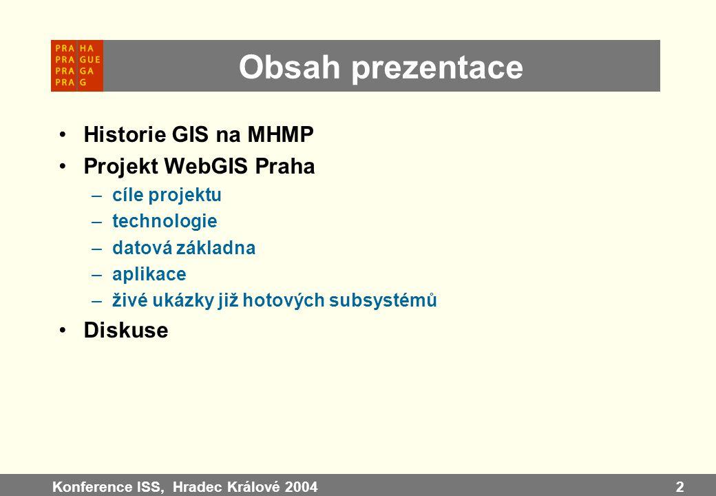 Konference ISS, Hradec Králové 20042 Obsah prezentace Historie GIS na MHMP Projekt WebGIS Praha –cíle projektu –technologie –datová základna –aplikace