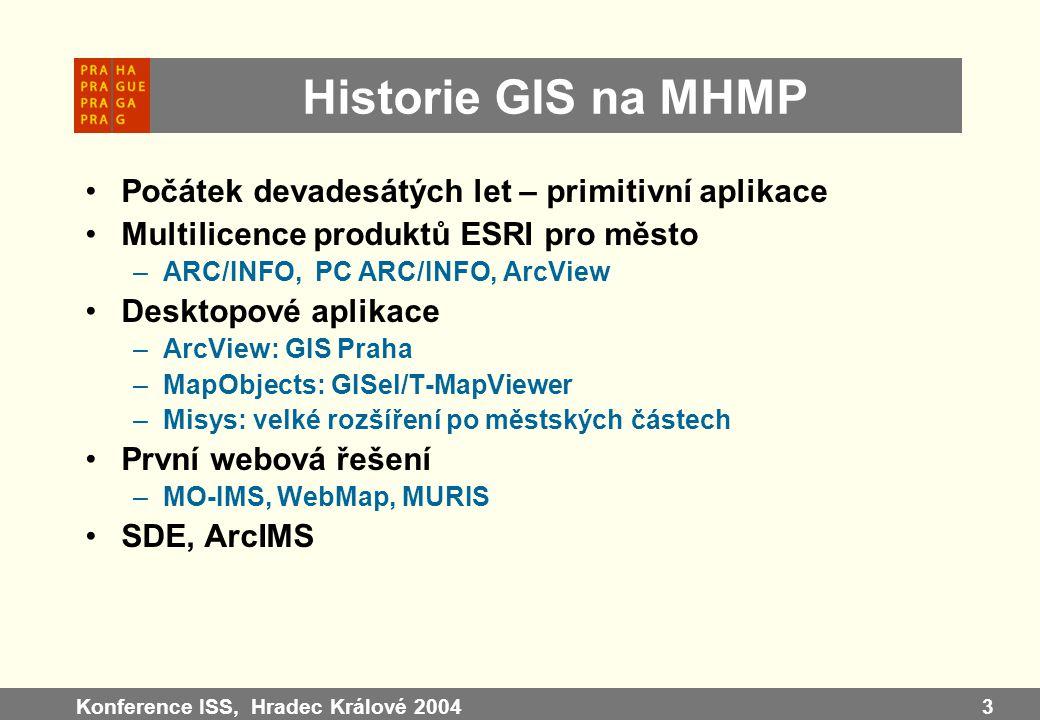 Konference ISS, Hradec Králové 20043 Historie GIS na MHMP Počátek devadesátých let – primitivní aplikace Multilicence produktů ESRI pro město –ARC/INF