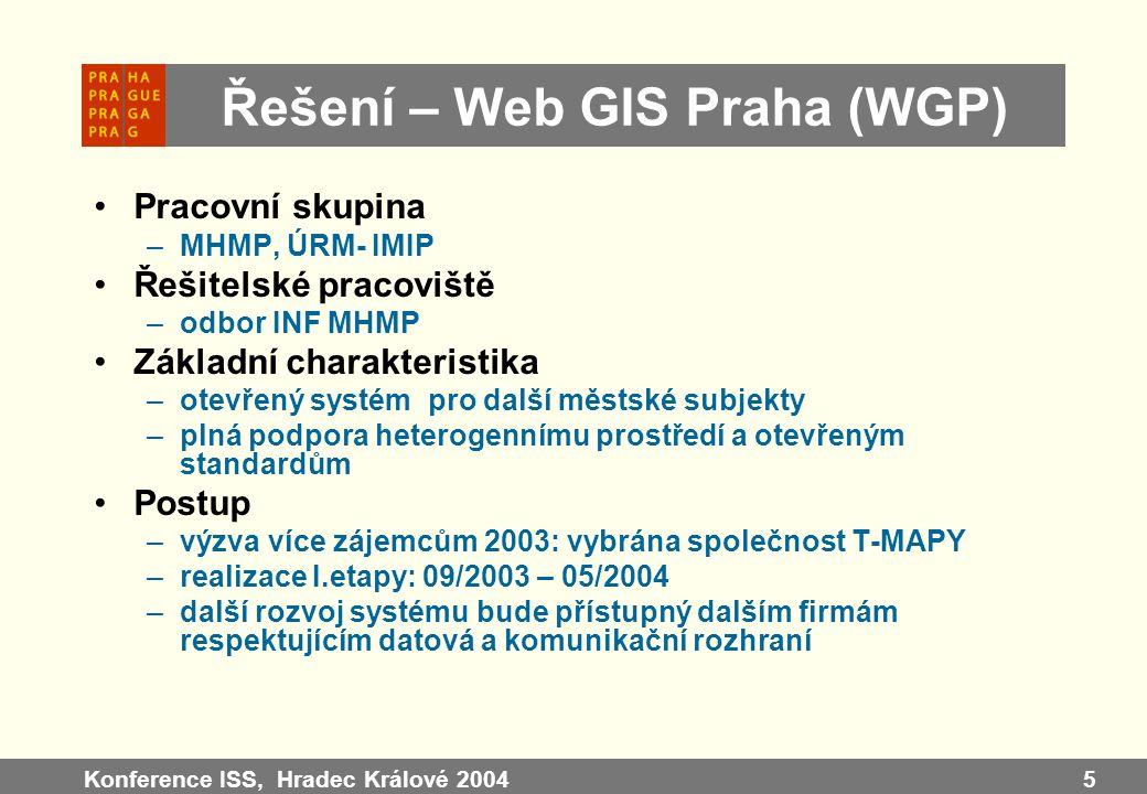 Konference ISS, Hradec Králové 20045 Řešení – Web GIS Praha (WGP) Pracovní skupina –MHMP, ÚRM- IMIP Řešitelské pracoviště –odbor INF MHMP Základní cha
