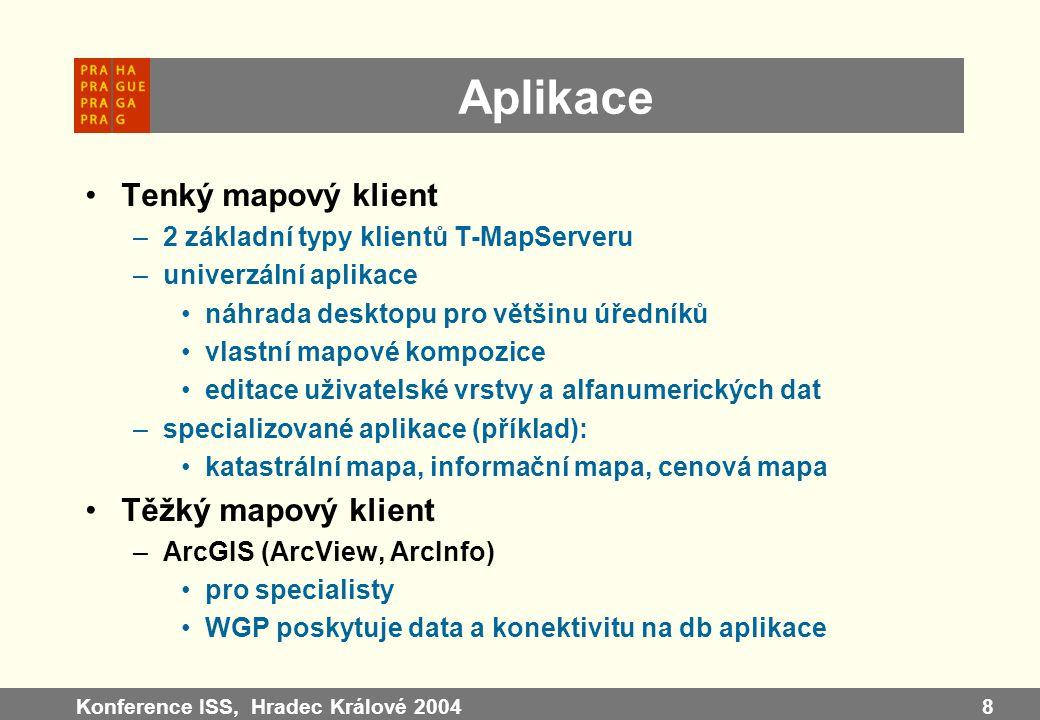 Konference ISS, Hradec Králové 20048 Aplikace Tenký mapový klient –2 základní typy klientů T-MapServeru –univerzální aplikace náhrada desktopu pro vět