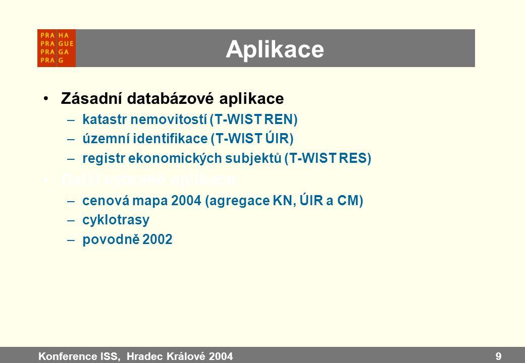 Konference ISS, Hradec Králové 20049 Aplikace Zásadní databázové aplikace –katastr nemovitostí (T-WIST REN) –územní identifikace (T-WIST ÚIR) –registr