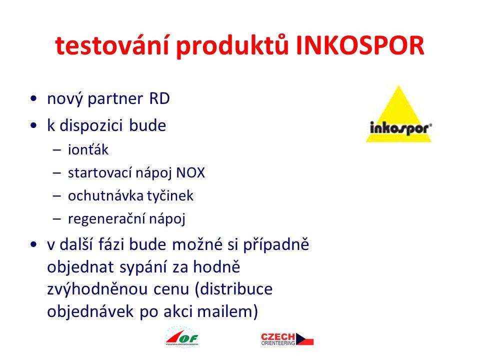 testování produktů INKOSPOR nový partner RD k dispozici bude –ionťák –startovací nápoj NOX –ochutnávka tyčinek –regenerační nápoj v další fázi bude možné si případně objednat sypání za hodně zvýhodněnou cenu (distribuce objednávek po akci mailem)