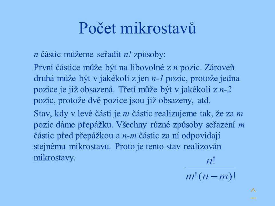 Počet mikrostavů n částic můžeme seřadit n.způsoby: První částice může být na libovolné z n pozic.