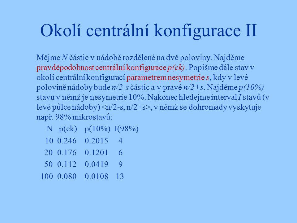 Okolí centrální konfigurace II Mějme N částic v nádobě rozdělené na dvě poloviny.