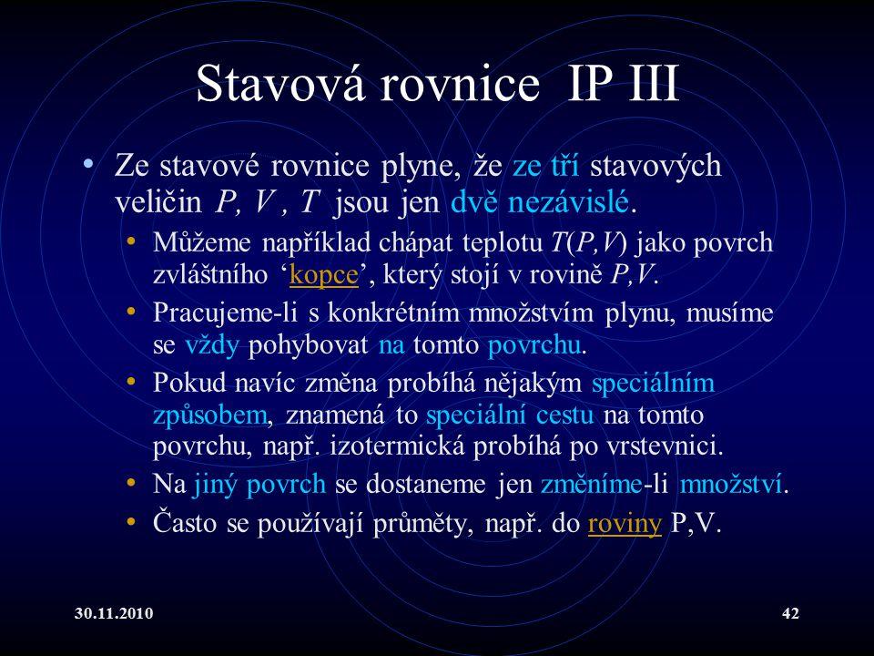 30.11.201042 Stavová rovnice IP III Ze stavové rovnice plyne, že ze tří stavových veličin P, V, T jsou jen dvě nezávislé.