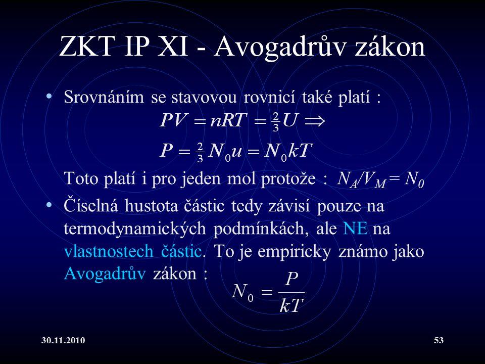 30.11.201053 ZKT IP XI - Avogadrův zákon Srovnáním se stavovou rovnicí také platí : Toto platí i pro jeden mol protože : N A /V M = N 0 Číselná hustota částic tedy závisí pouze na termodynamických podmínkách, ale NE na vlastnostech částic.
