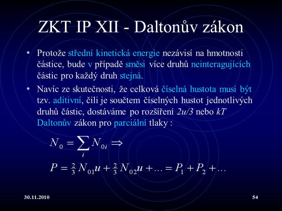30.11.201054 ZKT IP XII - Daltonův zákon Protože střední kinetická energie nezávisí na hmotnosti částice, bude v případě směsi více druhů neinteragujících částic pro každý druh stejná.